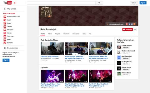 Screenshot of YouTube Page youtube.com - Rob Randolph  - YouTube - captured Oct. 26, 2014