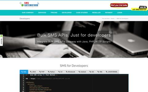 Screenshot of Developers Page smsgatewayhub.com - Bulk SMS API, Bulk SMS API, HTTP's API, API key provider for customized integration - captured Oct. 1, 2018