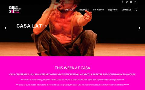 Screenshot of Home Page casafestival.org.uk - CASA Latin American Theatre Festival - captured July 7, 2017