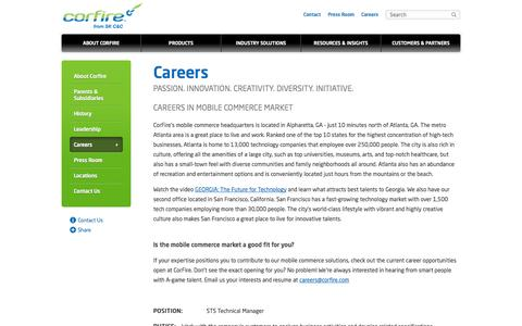 Screenshot of Jobs Page corfire.com - Mobile Commerce Solution | CorFire - captured Oct. 3, 2014