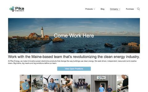Screenshot of Jobs Page pika-energy.com - Work at Pika Energy - Pika Energy - captured July 18, 2018