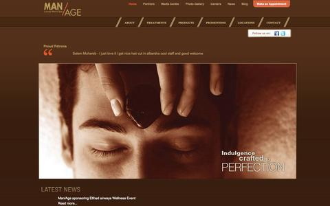Screenshot of Home Page managespa.com - Man/Age Spa | Luxury Men's Spa - captured Sept. 30, 2014