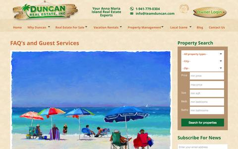 Screenshot of FAQ Page teamduncan.com - FAQ's and Guest Services | Duncan Real Estate - captured Oct. 5, 2014