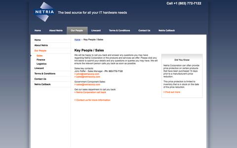 Screenshot of Team Page netriacorp.com - Netria Corporation |  Key People / Sales - captured Oct. 7, 2014