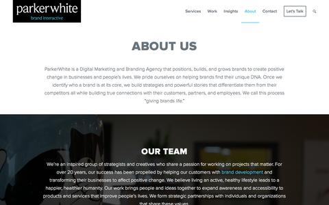 Screenshot of About Page parkerwhite.com - Branding Agency, Digital Marketing San Diego - ParkerWhite - captured Oct. 21, 2016