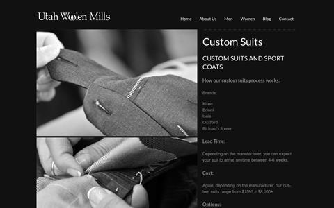 Screenshot of About Page utahwoolenmills.com - Custom Suits - Utah Woolen Mills - captured March 24, 2016