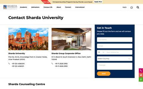 Screenshot of Contact Page sharda.ac.in - Contact Us - Sharda University - captured Feb. 19, 2019
