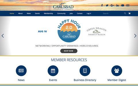 Screenshot of Home Page carlsbad.org - Carlsbad Chamber of Commerce | City of Carlsbad, California - captured July 15, 2017