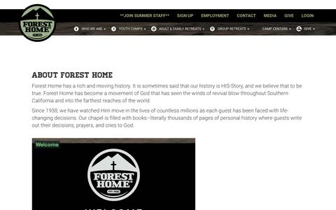 Screenshot of About Page foresthome.org - Forest Home Christian Camps - About - captured March 23, 2019