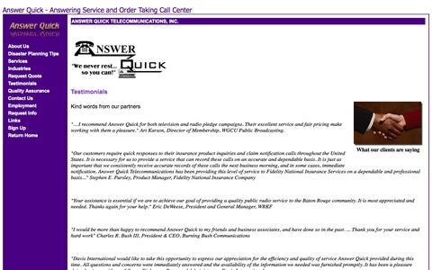 Screenshot of Testimonials Page answerquick.com - Answer Quick Telecommunications - Testimonials - captured Oct. 4, 2014