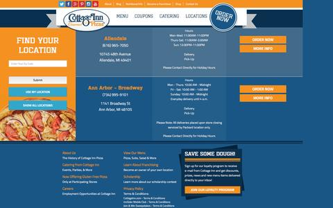 Screenshot of Locations Page cottageinn.com - Pizza Delivery & Restaurant Locations | Cottage Inn Pizza - captured Jan. 15, 2016