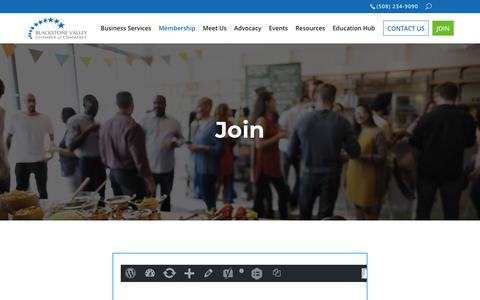 Screenshot of Signup Page blackstonevalley.org - Join the Chamber! | Blackstone Valley Chamber of Commerce - captured Oct. 6, 2018
