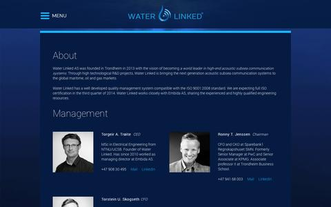 Screenshot of About Page waterlinked.no - About | Water Linked - captured Nov. 4, 2014