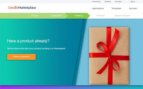 Screenshot of Developers Page creatio.com - Publishing | Creatio Marketplace - captured Dec. 24, 2019
