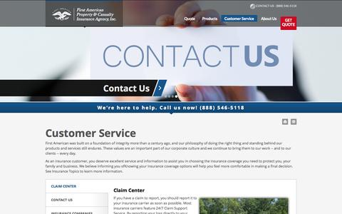 Screenshot of Support Page fapcia.com - Customer Service - First American Property and Casualty Insurance Agency - captured Oct. 6, 2014