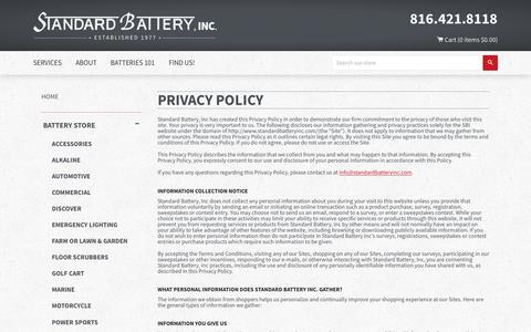 Screenshot of Privacy Page standardbatteryinc.com - Privacy Policy – Standard Battery - captured Nov. 8, 2017
