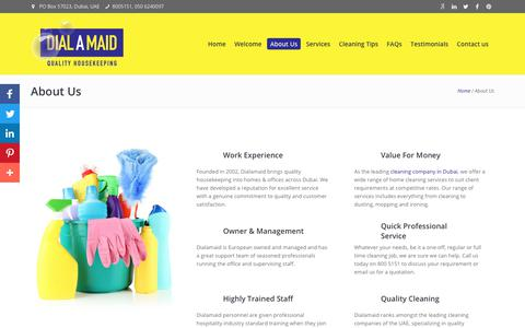 Screenshot of About Page dialamaid.ae - About Dialamaid - One of The Leading Housekeeping Company - captured Aug. 6, 2018