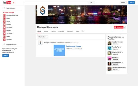 Screenshot of YouTube Page youtube.com - Managed Commerce  - YouTube - captured Oct. 23, 2014