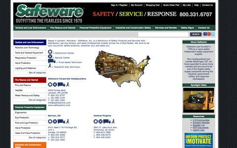 Screenshot of Locations Page safewareinc.com - Safeware Locations - captured Sept. 30, 2014
