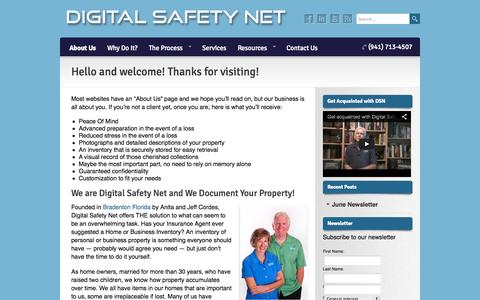 Screenshot of About Page digitalsafetynetfl.com - Hello and welcome! Thanks for visiting!   Digital Safety Net - captured Oct. 5, 2014
