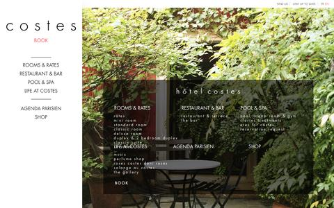 Screenshot of Site Map Page hotelcostes.com - h�tel costes - captured Dec. 13, 2015