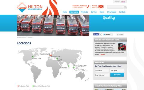 Screenshot of Locations Page hiltonengineering.nl - Firefighting Vehicles - Hilton Engineering > Company > Locations - captured Oct. 2, 2014