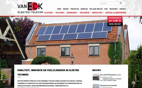 Screenshot of Home Page eck.nl - Van Eck Elektro-Telecom elektrotechniek Waardenburg A2 - captured Feb. 13, 2016