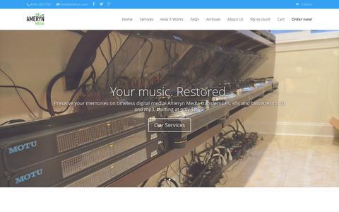 Screenshot of Home Page ameryn.com - Ameryn Media - LP/cassette transfer to CD/mp3 - captured Jan. 23, 2015