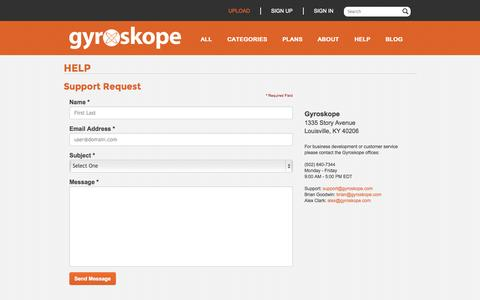 Screenshot of Support Page gyroskope.com - Gyroskope - Upload and sell videos online: Contact - captured Sept. 30, 2014