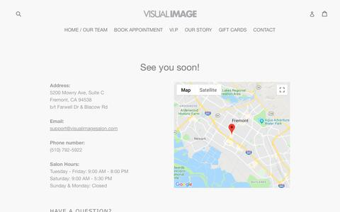 Screenshot of Contact Page visualimagesalon.com - See you soon!                      – Visual Image Salon - captured Sept. 20, 2018