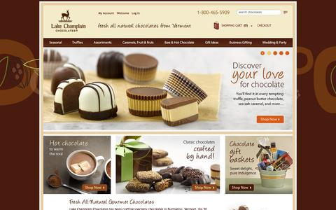 Screenshot of Home Page lakechamplainchocolates.com - Buy the Best Gourmet Chocolate Online from Lake Champlain Chocolates - captured Sept. 25, 2014
