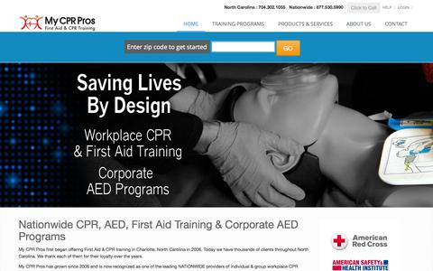 Screenshot of Services Page FAQ Page Terms Page Pricing Page mycprpros.com - CPR Classes in Charlotte NC | Nationwide Onsite Workplace CPR | Corporate AED Programs - captured Oct. 26, 2014