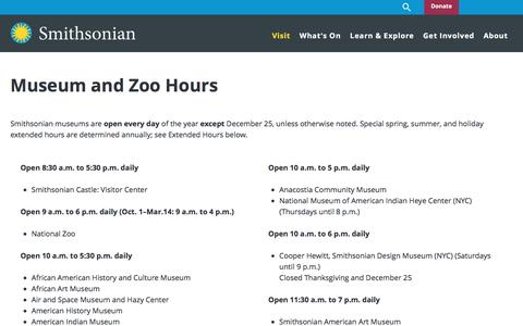 Screenshot of Hours Page si.edu - Museum and Zoo Hours| Smithsonian Institution - captured March 17, 2017
