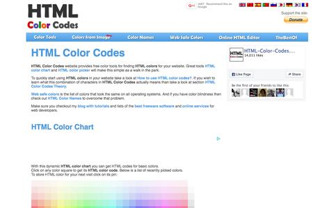 Screenshot of Home Page html-color-codes.info - Html Color Codes - captured Dec. 2, 2015