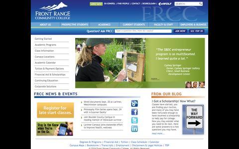 Screenshot of Home Page frontrange.edu - Front Range Community College - captured Sept. 19, 2014