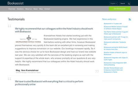 Screenshot of Testimonials Page bookassist.org - Bookassist Client Testimonials and Case Studies & Booking Engine Recommendations | Bookassist | Dublin, Ireland - captured Sept. 22, 2014