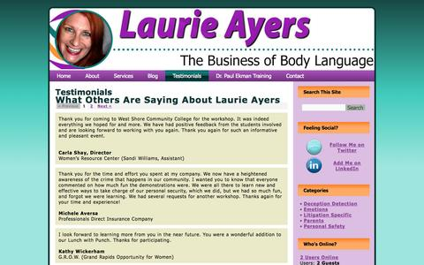 Screenshot of Testimonials Page laurieayers.com - Testimonials | Laurie Ayers - captured Oct. 4, 2014