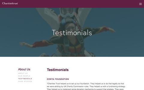 Screenshot of Testimonials Page charitiestrust.org.uk - Testimonials — Charities Trust - captured May 10, 2017