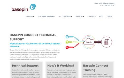 Screenshot of Support Page basepin.com - Basepin Connect is a BIM collaboration software | BIM Coordination - captured May 31, 2017
