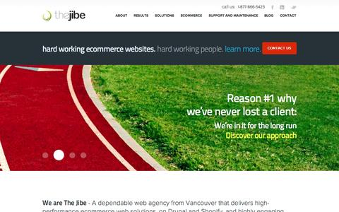 Screenshot of Home Page thejibe.com - Vancouver Ecommerce Agency & Web Design | The Jibe - captured Sept. 25, 2014