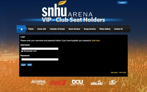 Screenshot of Login Page infinityprosports.com - SNHU Arena: Club Seat Holders - captured July 6, 2018
