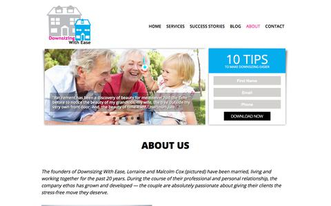 Screenshot of About Page downsizingwithease.com.au - Sydney removalists - experts at downsizing  | Downsizing with Ease - captured Aug. 5, 2018