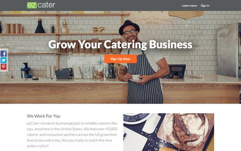 Screenshot of Signup Page ezcater.com - For Caterers - ezCater - captured Sept. 27, 2016