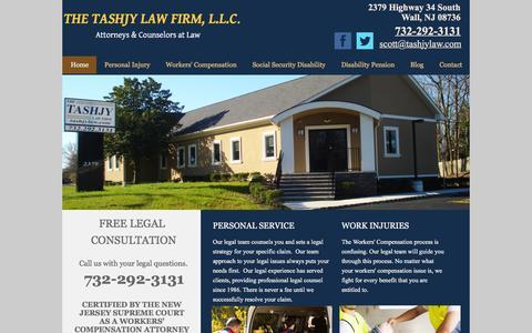 Screenshot of Home Page tashjylaw.com - Tashjy Law Firm, L.L.C. - Legal Attorneys   Wall, NJ - captured March 8, 2016
