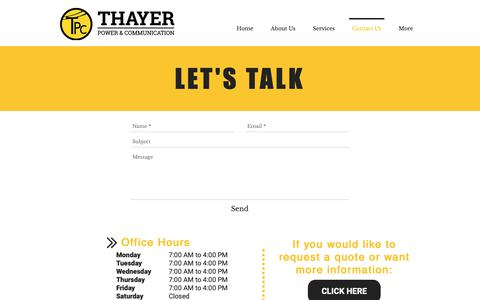 Screenshot of Contact Page thayerpc.com - Thayer PC | Contact Us - captured Oct. 18, 2018