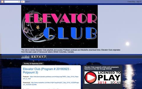 Screenshot of Home Page elevatorclubradio.com - Elevator Club - captured Sept. 27, 2018