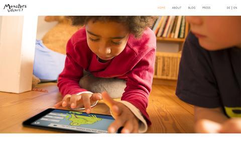 Screenshot of Home Page linguino.de - Monsters Behave! l Language Gaming App - captured Oct. 8, 2014