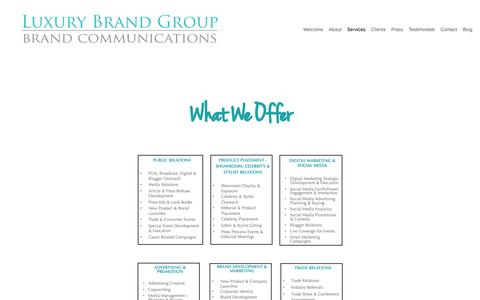 Screenshot of Services Page luxurybrandgroup.com - Services — Luxury Brand Group - captured May 24, 2017