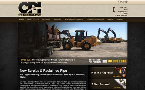 Screenshot of Home Page cpipipe.com - Pipeline Removal | New and Used Surplus Pipe | CPI Pipe - captured Sept. 29, 2019