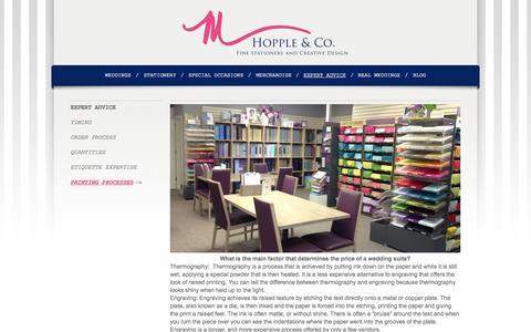 Screenshot of Pricing Page mhopple.com - Printing Processes - M. Hopple & Co. - captured Oct. 8, 2014